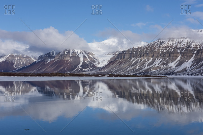 Norway, Svalbard, Spitsbergen, Fjord. Arctic fjord reflections.