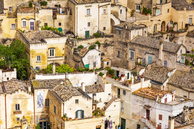 May 27, 2019: Italy, Basilicata, Province of Matera, Matera. Overview of the city.