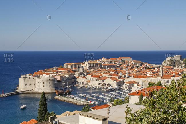 Croatia. Dalmatia. Dubrovnik. View of the old town and harbor in Dubrovnik.