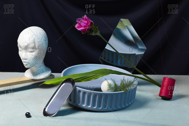 Pink flower, mirror and mannequin head on dark background with other objects