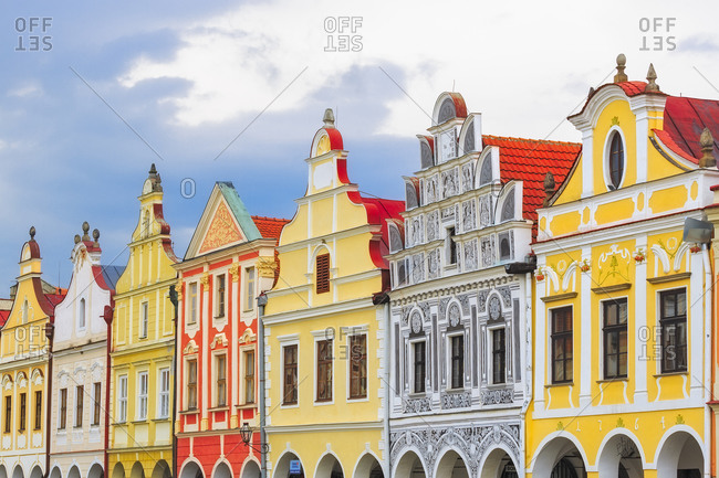April 28, 2014: Europe, Czech Republic, Telc. Colorful houses on main square.