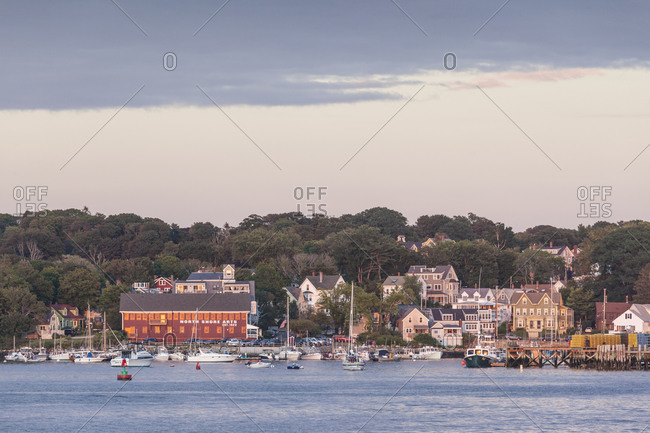 September 1, 2018: USA, Massachusetts, Cape Ann, Gloucester. Gloucester Harbor at dusk
