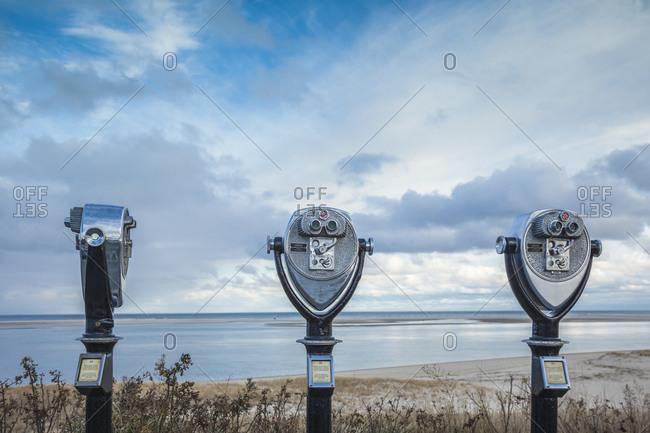 December 5, 2018: USA, Massachusetts, Cape Cod, Chatham. Chatham Harbor, observation binoculars