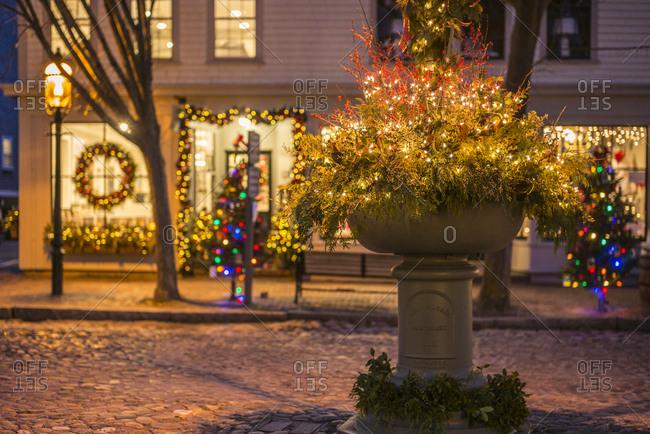 December 6, 2018: USA, Massachusetts, Nantucket Island. Christmas in Nantucket Town, storefront.