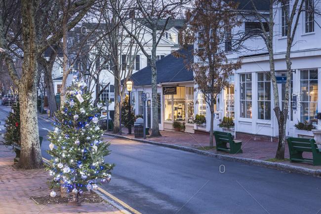 December 7, 2018: USA, Massachusetts, Nantucket Island. Nantucket Town, Christmas on Centre Street.