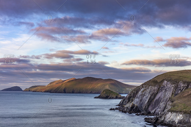 View of the Blasket Islands from Dunmore Head the westernmost point of Europe on the Dingle Peninsula, Ireland