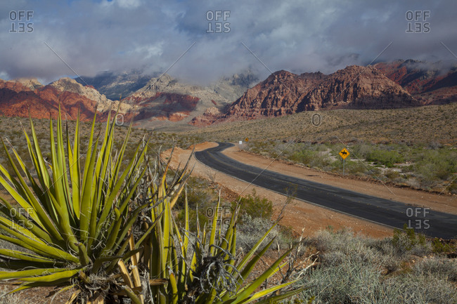 Driving the road at the Valley of Fire, Las Vegas, Nevada.