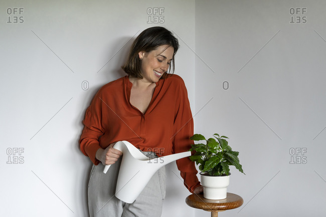 Smiling entrepreneur watering plants at home