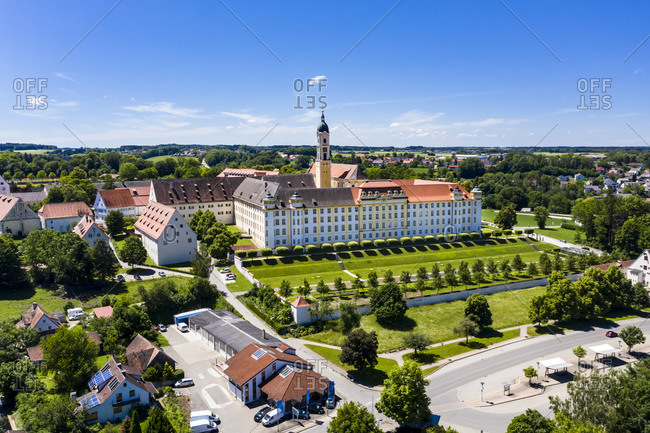 Germany- Baden-Wurttemberg- Ochsenhausen- Aerial view of Ochsenhausen Abbey in summer