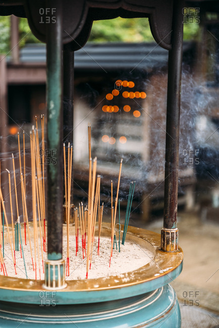 Japan- Kyoto- Incenses in front of temple