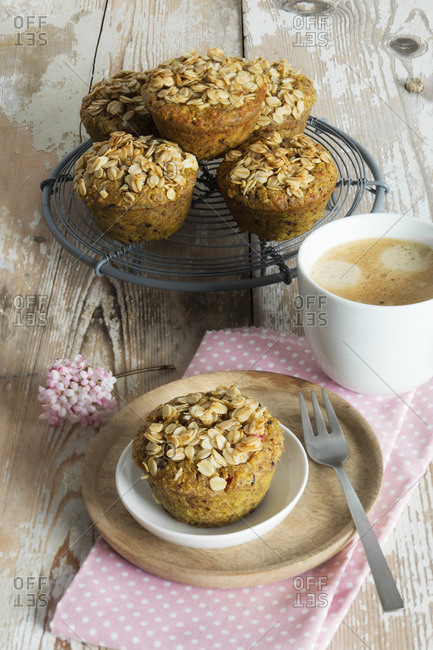 Breakfast muffins with berries- granola and Breakfast muffins with berries- granola and turmeric- studio shot