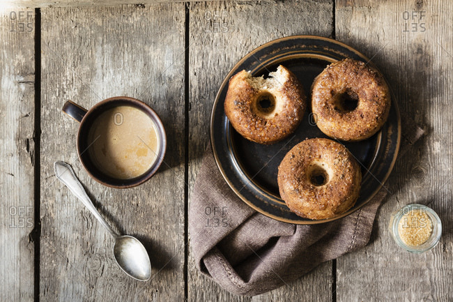 Homemade donuts with sugar and cinnamon