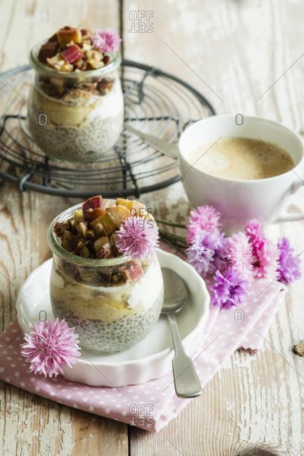 Rhubarb dessert with chia pudding- vegan and sugar-free