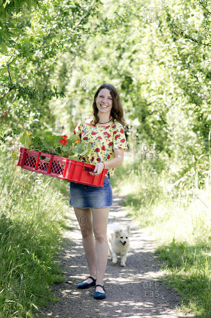 Smiling young woman carrying nasturtium in basket while standing at farm