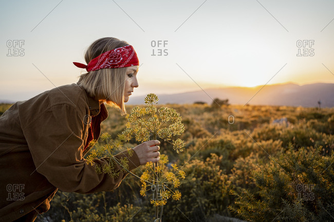Woman in the countryside smelling at a flower at sunrise