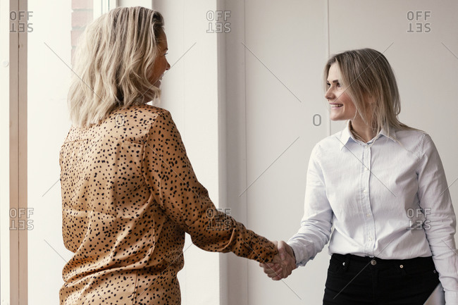 Women shaking hands at office