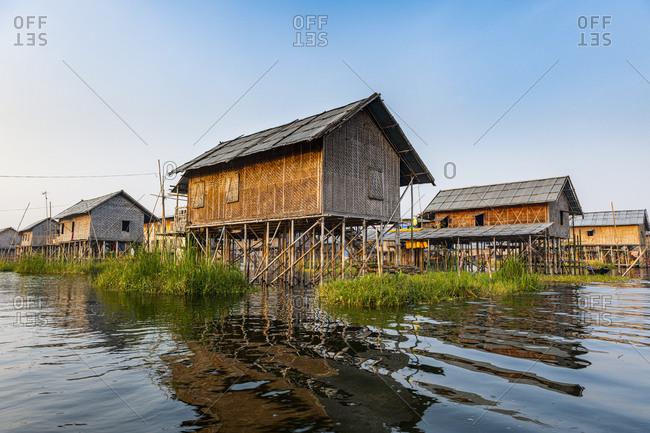 Myanmar- Shan state- Nampan- Stilt houses on Inle lake