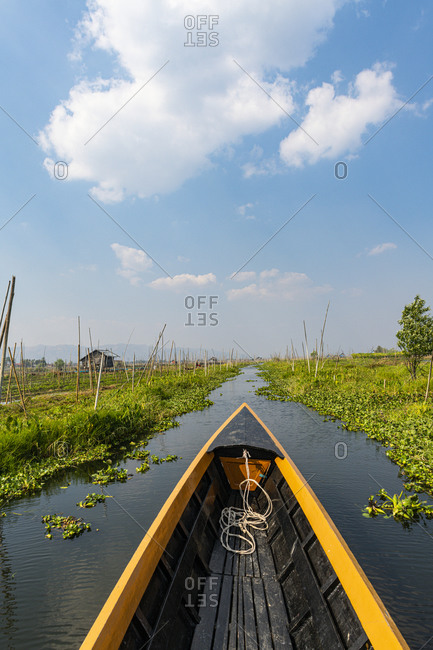 Myanmar- Shan state- Canoe going through floating gardens on Inle lake