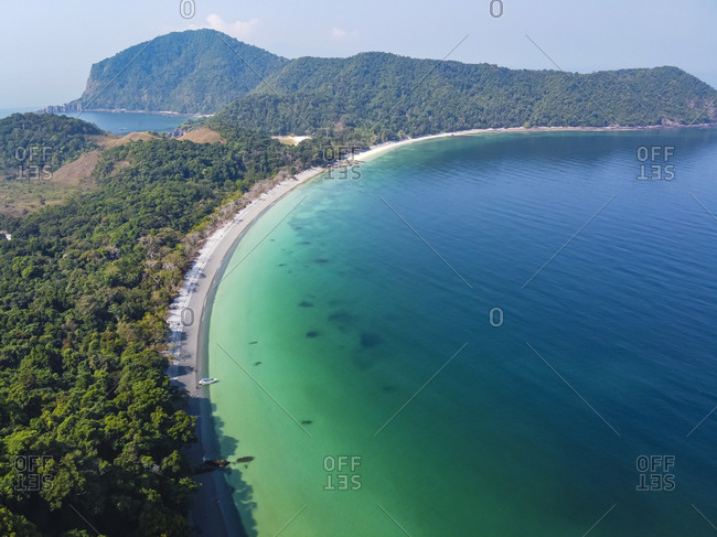 Myanmar- Mergui or Myeik Archipelago- Smart island- Coastline and turquoise sea- aerial view