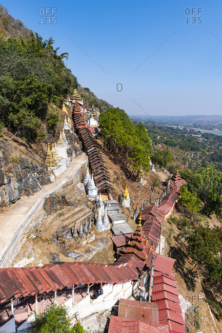 Myanmar- Shan State- Pindaya- Covered walkway leading to Pindaya Caves in summer