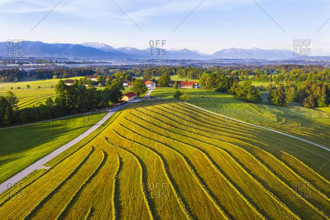 Germany- Bavaria- Upper Bavaria- Tolzer Land- near Eurasburg- Hofstatt- Plowed field and road- aerial view