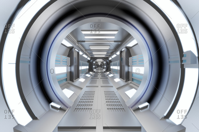 Three dimensional render of bright futuristic corridor inside spaceship or space station