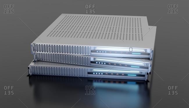 Three dimensional render of three server modules