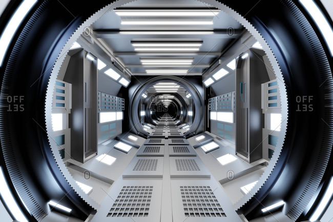 Three dimensional render of futuristic corridor inside spaceship or space station