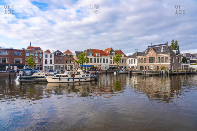 Netherlands- South Holland- Leiden- Small harbor in De Kooi neighborhood