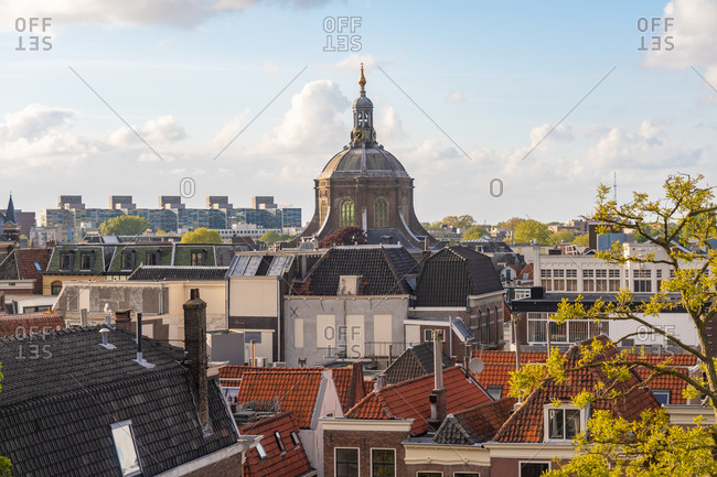 Netherlands- South Holland- Leiden- Marekerk and surrounding houses