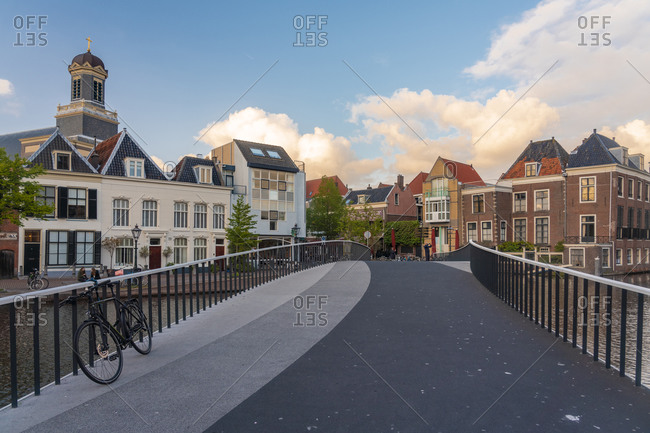 Netherlands- South Holland- Leiden- Catharinabrug with old town houses in background
