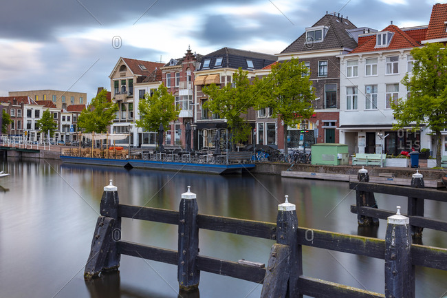 Netherlands- South Holland- Leiden- Ship dock and harbor by Beestenmarkt