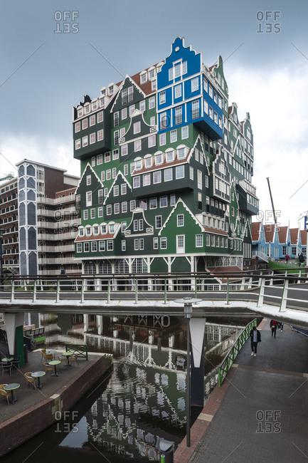 Netherlands- North Holland- Zaandam- Elevated walkway in front of Inntel Hotels Amsterdam Zaandam