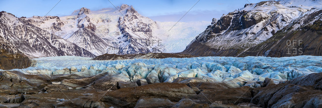 Panoramic view of glacier tongue- Iceland