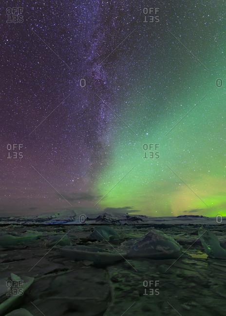 Northern lights over glacier lagoon- Iceland