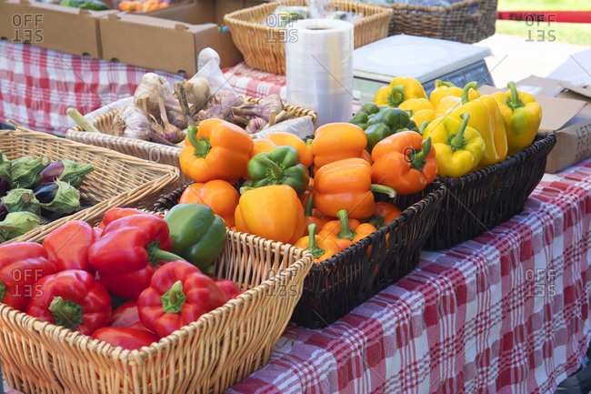 Sidney, British Columbia, Canada - July 9, 2020: Produce for sale at the Saturday market in Sidney