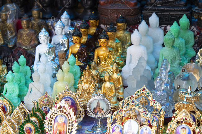 Bodh Gaya, India, February 27, 2015: Souvenir shop of Buddhist items for sale