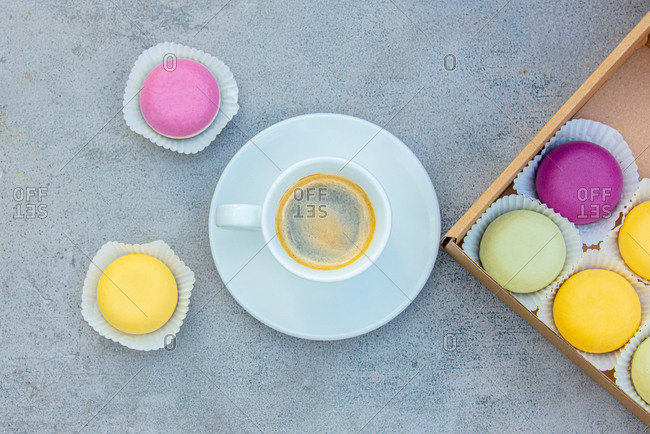 Raw gluten, sugar and flour free desserts and a cup of coffee from above