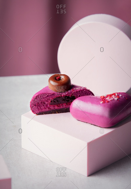 Purple raw desserts of berries without gluten, sugar and flour
