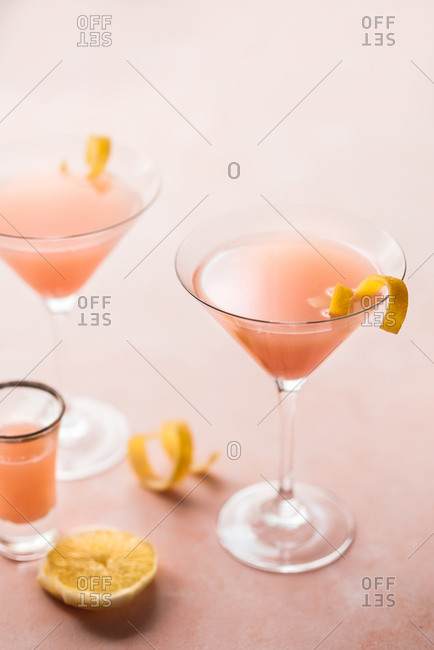 Pink cocktail drinks on pink background