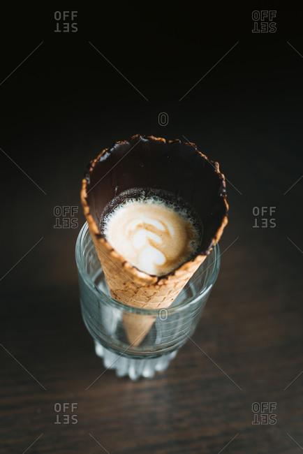 Espresso in chocolate dipped waffle cone