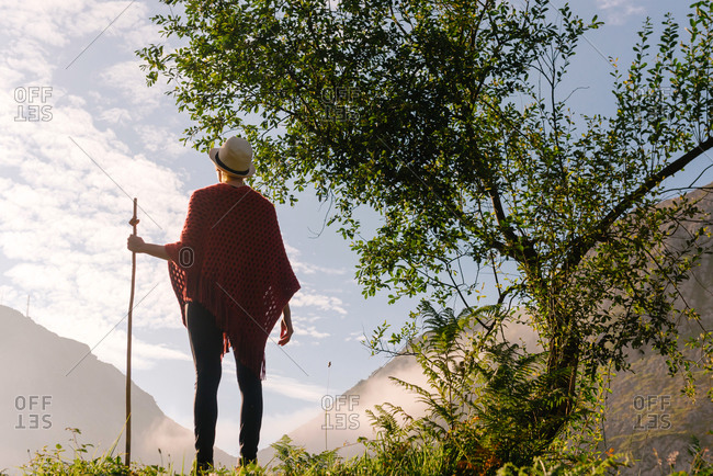 Back view of unrecognizable wanderer with wooden staff enjoying sunrise in morning and looking at mountains