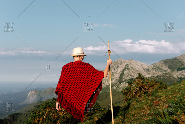 Back view of unrecognizable wanderer with wooden staff enjoying landscapes views in morning and looking at mountains