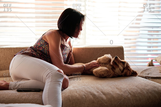 Side view of gentle female relaxing on comfortable couch with adorable dog in living room during weekend