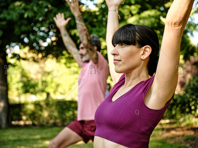 Side view of tranquil couple on yoga mats doing yoga in crescent lunge pose while standing barefoot in park on sunny day and looking away