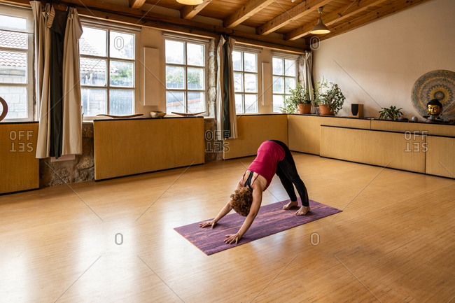 Full body side view of unrecognizable flexible female in sportswear doing Downward Facing Dog asana while practicing yoga in light studio of tropical resort