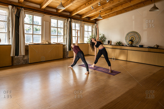 Flexible female friends in sportswear standing in Triangle pose in spacious studio while practicing yoga and looking up