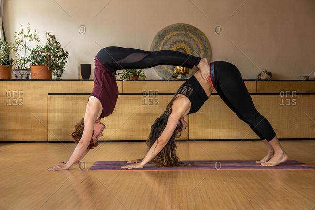 Side view of flexible females practicing acro yoga in Downward Facing Dog and Handstand positions in studio