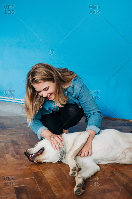 Young female owner caressing Labrador Retriever lying on parquet floor at home