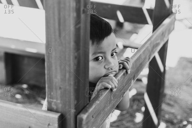 Toddler boy playing in a treehouse in black and white